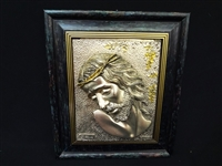 L. Chirico Sterling Plated Relief Plaque of Christ ARG.925