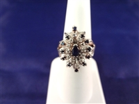 14K White Gold Diamond and Sapphire Ring Cluster Setting Size 6.75