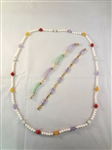 14K Gold and Lavender Jade Jewelry Group: (2) Bracelets, (1) Necklace