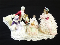 MZ Irish Dresden Figural Group: Grandmothers Birthday Lace