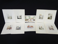 (10) Miniature Original Watercolor Paintings Orthodox Churches Signed