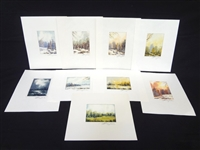 (9) Miniature Original Watercolor Paintings All Landscapes Signed