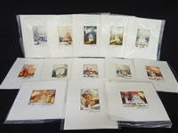 (13) Miniature Original Watercolor Paintings Orthodox Churches Signed