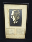 James Whitcomb Riley Full Hand Written Poem Signed by Author Framed with Photo