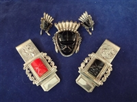 (3) Pieces Taxco Mexican Sterling Silver Jewelry: Money Clips and Brooch