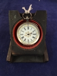 Sterling Silver Pocket Watch Enameled Face English Hallmark in Inlaid Wood Carved Box