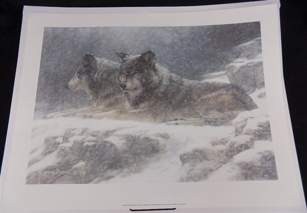2 Lithographs 'Winter Solstice' by Bradley Parrish Print 2 Wolves s/n