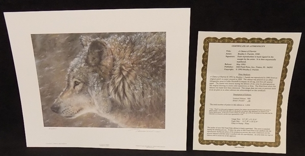 1992 Chance of Flurries Wolf Print by Bradley Parrish signed and numbered