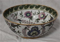 Large Chinese Enamel on Glazed Porcelain Bowl & Platter