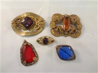(5) Victorian Jewelry Gold Filled Brooches and Pendant