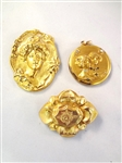 (3) Art Nouveau Gold Filled Brooch and Pendants