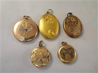 (5) Victorian Gold Filled Hair Receiver, Lockets