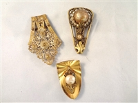 (3) Victorian Gold Filled Scarf Sash Holders