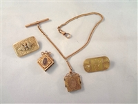 Victorian Gold Filled Watch Fobs and Bar Brooches