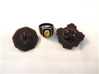 (3) Victorian Vulcanite Mourning Jewelry: Ring, Brooches
