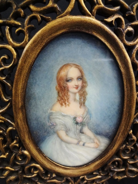 Contessa Teresa Guiccioli 19th c Painting on Sheet Lord Byron's Love