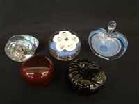 (5) Art Glass Paperweights: DR, Art Studio, JW