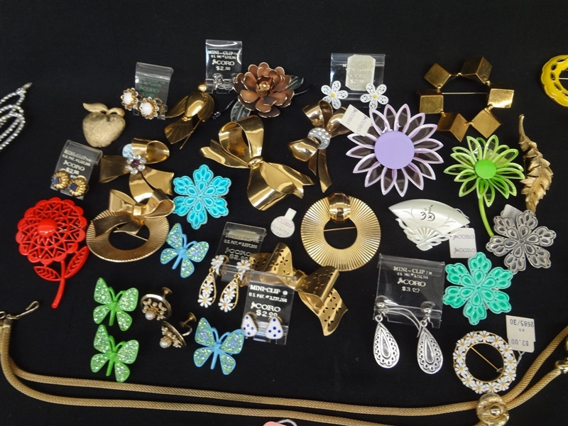 Massive Lot Signed Costume Jewelry: Eisenberg, Coro, Lisner, Bogoff, Krementz, Many Others