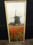 C.H. Whittlesey Oil Painting Poppies and Windmill 1895