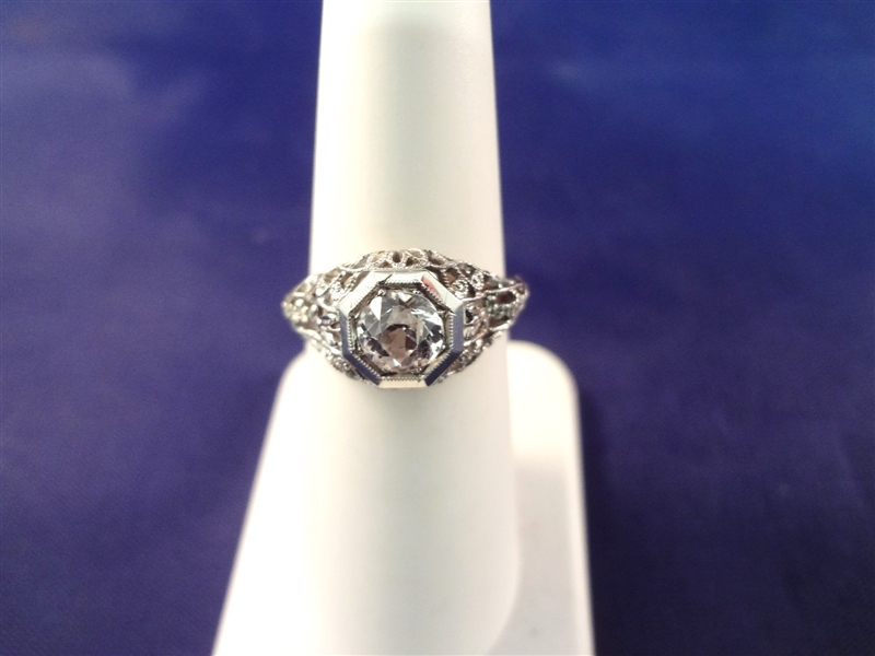 18k White Gold Ring With .75 Carat White Sapphire