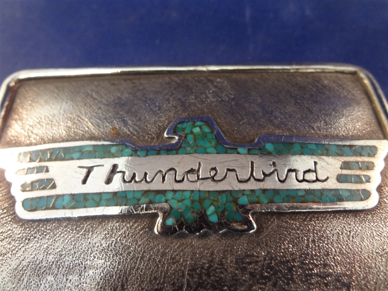 Begay Hand Made Sterling Silver Turquoise Thunderbird Belt Buckle
