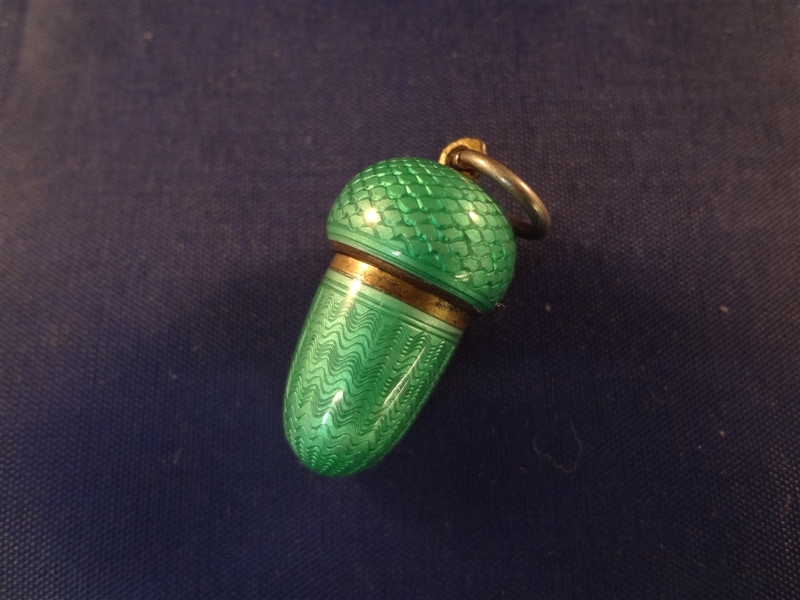 Sterling Silver Collapsible Cigarette Holder in Guilloche Enamel Acorn Holder