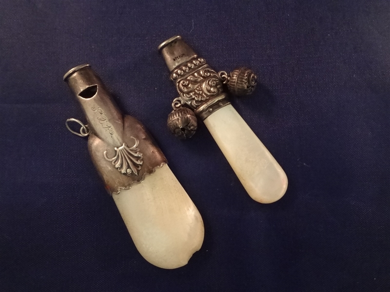 (2) Sterling Silver Mother Of pearl Hand Whistles