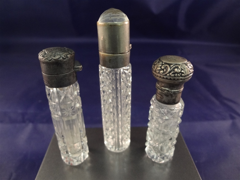 (5) Crystal and Sterling Silver Top Perfume Bottles