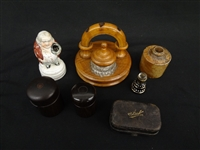 (6) Various Form Inkwells: Wood, Porcelain, Stoneware, Glass
