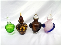 (4) Art Glass Perfumes with Stoppers