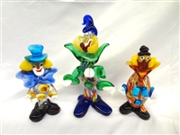 (3) Murano Art Glass Clowns: Original Sticker