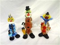 (3) Murano Venetian Art Glass Clowns