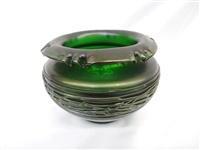 Loetz/Kralik Art Glass Rose Bowl in Green