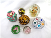 (7) Unsigned Glass Paperweights: caned, floral, others