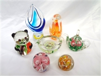 (7) Unsigned Glass Paperweights