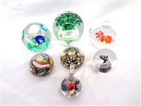 (7) Signed Glass Paperweights: Murano, Italy, Czech