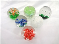 (6) Unsigned Squat Glass Paperweights