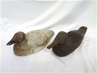 (2) Primitive Hand Carved and Painted Duck Decoys