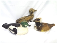 (3) Primitive Hand Carved and Painted Duck Decoys
