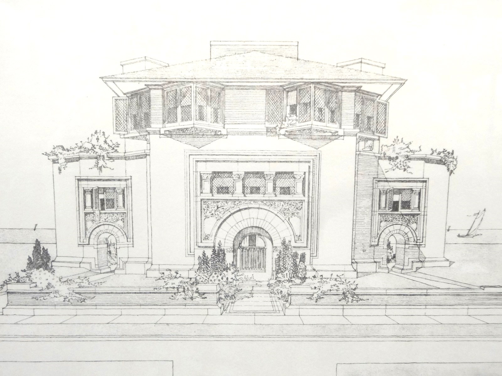 Lot Detail 2 Frank Lloyd Wright Drawing Prints Framed