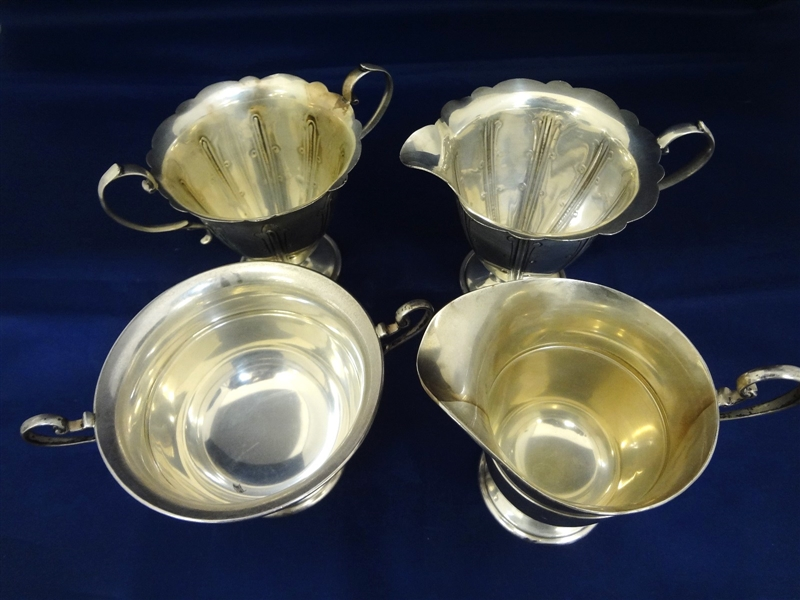 (2) Sets of Sterling Silver Creamer and Sugars: English