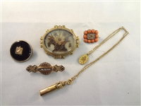 (5) Misc. Victorian Mourning GOld Filled Jewelry