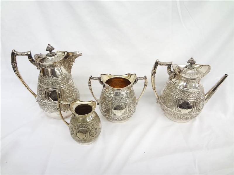 Reed and Barton Silver Plated Coffee Tea Serving Set