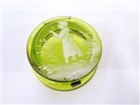 Mary Gregory Green Translucent Glass Hinged Dresser Box