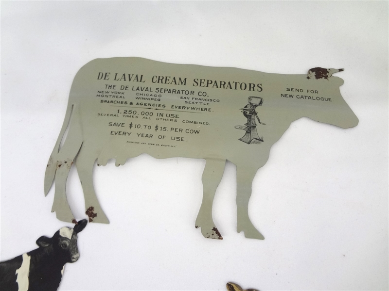 Souvenir De Laval Cow and Her Skim Milk Baby Laval Separator Co. Tin Advertising with Original Envelopes