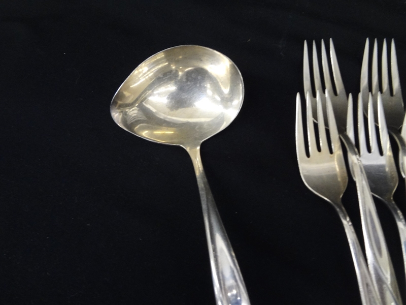 Reed and Barton Sterling Silver Flatware Set Silver Sculpture 1954 Service for Ten and Extras