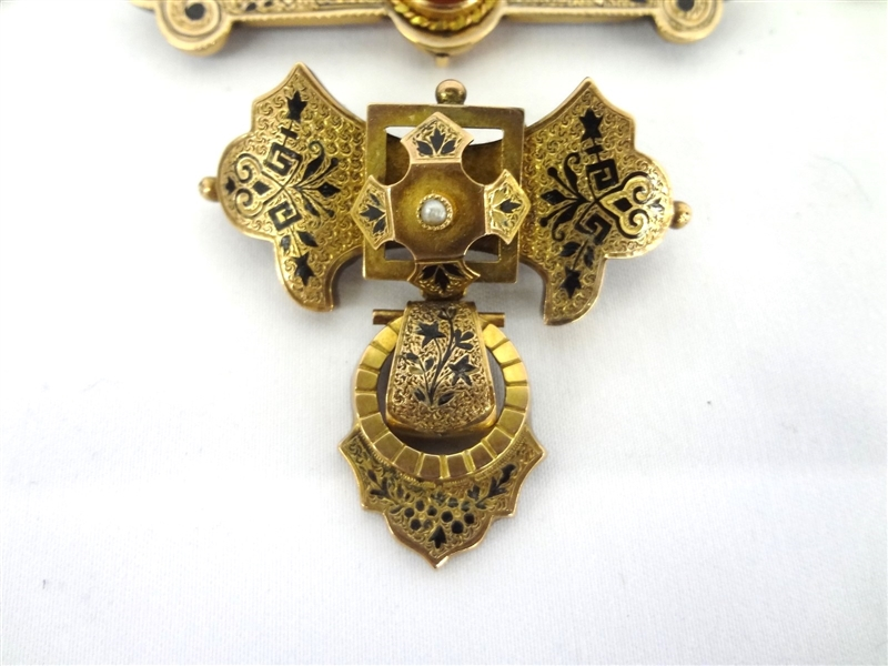 (5) Victorian Gold Filled Mourning Brooches