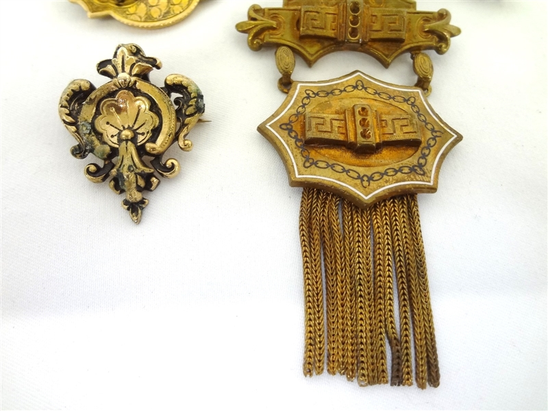 (7) Victorian Mourning Gold Filled Brooches