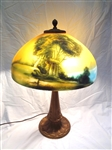 Reverse Painted Table Lamp: Decal Landscape Scene Base Marked C.C. Co.