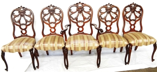 (5) Rococo Revival Chairs; One King and Four Side Chairs